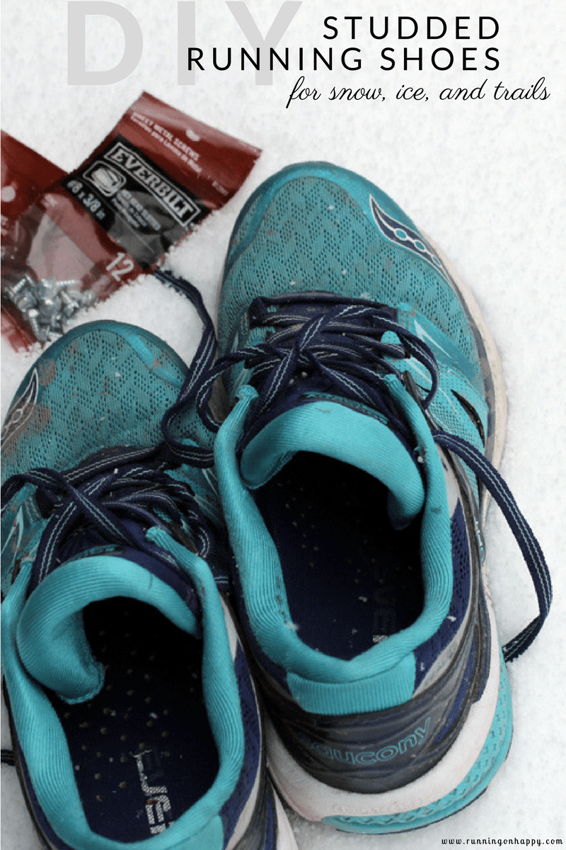 These DIY studded running shoes are perfect for running in the snow, on the ice, or on the trails. They're super easy to do at home!