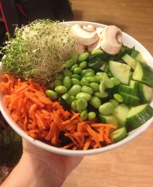 Read food, vegan salad.
