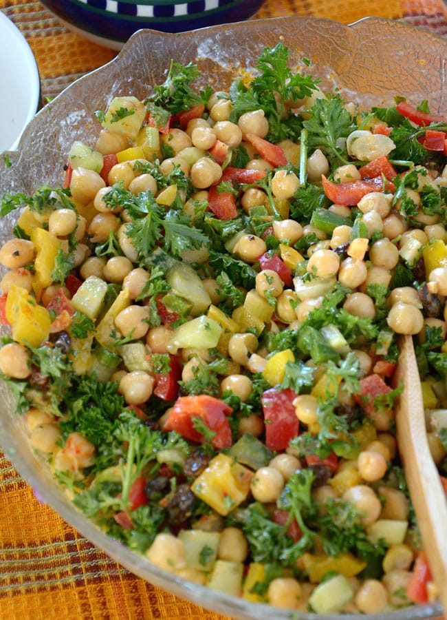 Bell Pepper and Chickpea Salad with Tahini Dressing