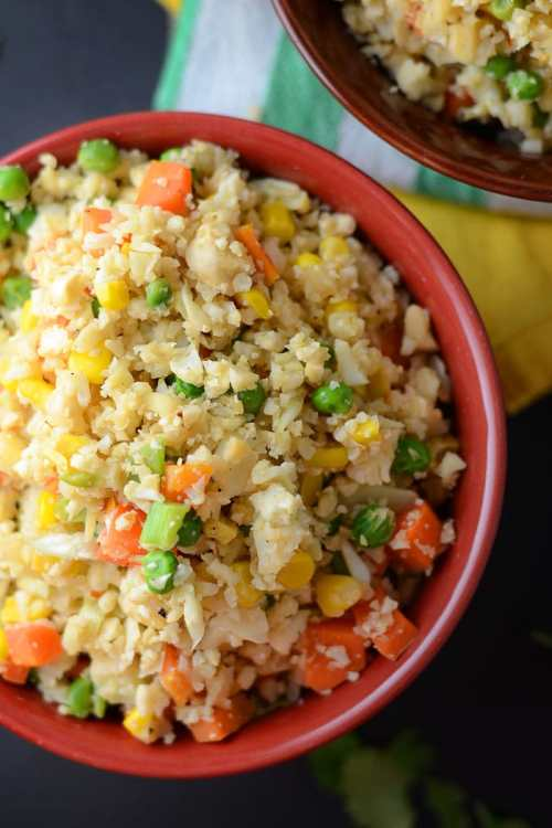 Healthy Vegan Cauliflower Fried Rice - Gluten-Free, Low Carb, High Fibre