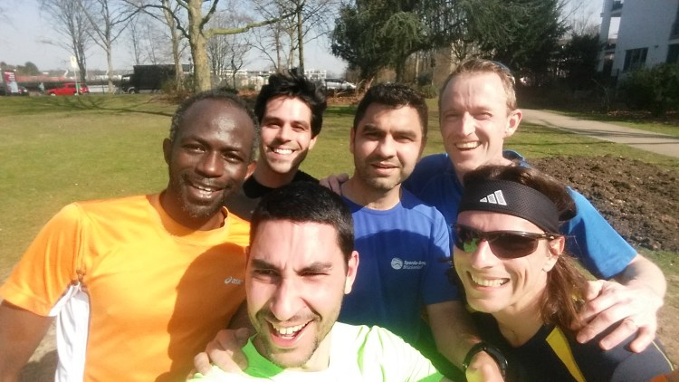 Happy faces at the end of an interval training session