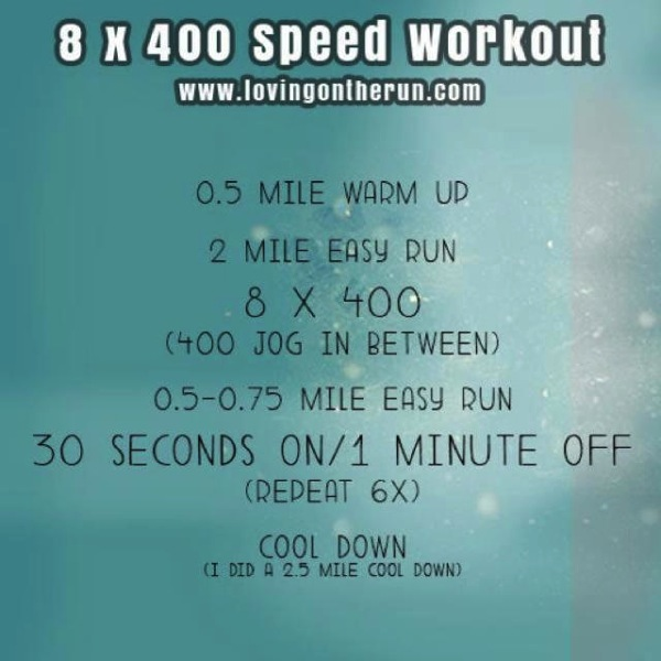 8 x 400 speed workout