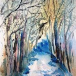 Watercolour Painting. Winter Walk