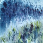 Watercolour painting. Cool Pines