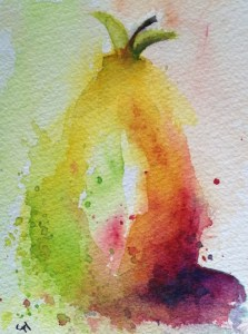 Watercolour painting. Pear Shaped by Judith Farnworth (JFA007)