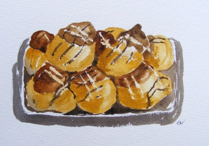 Watercolour painting. Profiteroles (EVA007). Artist: Eileen Valder