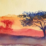 Watercolour painting. Dusty Red Sunset (RWB0039) Artist: Vandy Massey