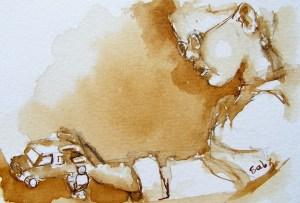 Watercolour painting. Small World (SDR010). Artist: Sabine De Rode