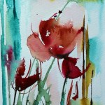 Watercolour painting. Red Flowers 6 (VPM006) Artist: Veronique Piaser-Moyen