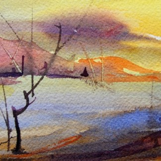 Watercolour painting. Golden Sky at Dawn (CAM009). Artist: Claude Ambollet