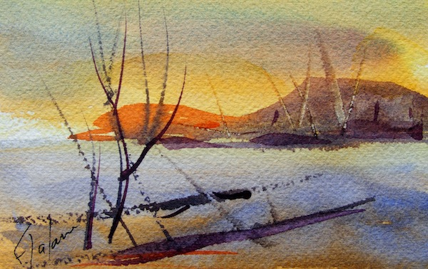 Watercolour painting. Across the Bay (CAM010). Artist: Claude Ambollet