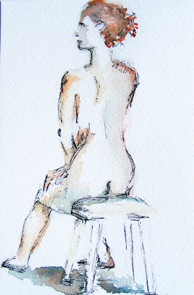 Watercolour painting. Thinking Chair (DMA001). Artist Dana Mallon