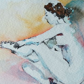Watercolour painting. Morning Ritual (DMA006) Artist: Dana Mallon