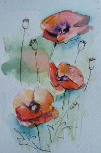 Watercolour painting. Three Poppies (SDR012) Artist: Sabine De Rode