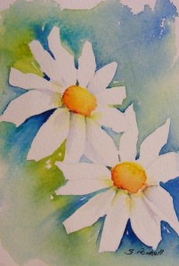 Watercolour painting. Sunshine Pair (SPA002) Artist: Seonaid Parnell