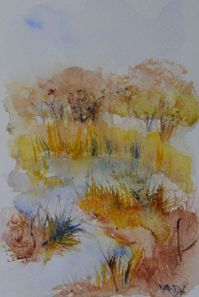 Watercolour painting. Autumn River (RWB0088) Artist: Vandy Massey