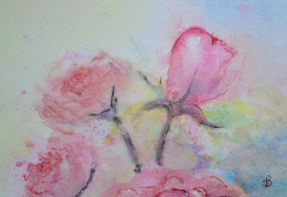 watercolour painting. SBA003 Pink Roses. Artist: Sue Bradley