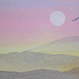 watercolour painting. SBA006 Nevada Sunset. Artist: Sue Bradley