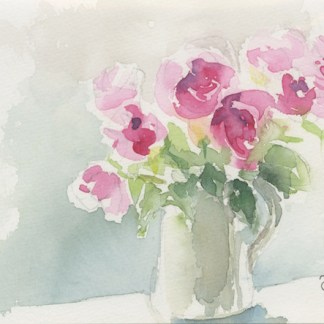 Watercolour painting. JBA005 Jug of Roses. Artist: Judy Barends