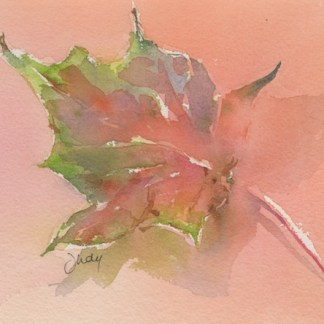 Watercolour painting. JBA007 Flame Leaf. Artist: Judy Barends