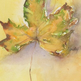 Watercolour painting. JBA009 Golden Leaf. Artist: Judy Barends