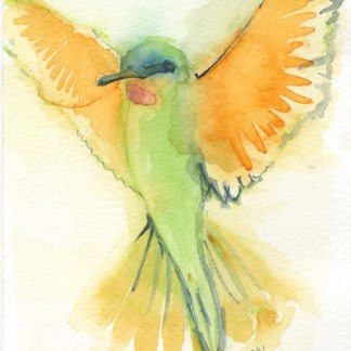 Watercolour painting. LBA053 Green Bee Eater. Artist: Lori Bentley