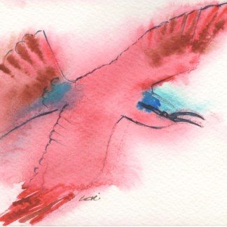 Watercolour painting. LBA056 Carmine Bee Eater. Artist: Lori Bentley