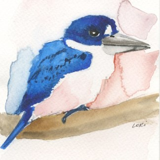 Watercolour painting. LBA057 Forest Kingfisher. Artist: Lori Bentley