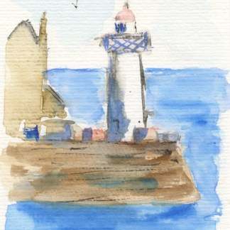 Watercolour painting. RWB0161 Belle Ile Lighthouse. Artist: Vandy Massey