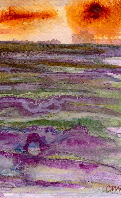 Watercolour painting. CMW010 Moorland Sunset I. Artist: Clare Maria Wood