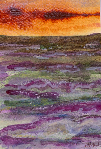 Watercolour painting. CMW011 Moorland Sunset II. Artist: Clare Maria Wood