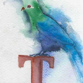 Watercolour painting. LBA077 Knysna Turaco. Artist: Lori Bentley