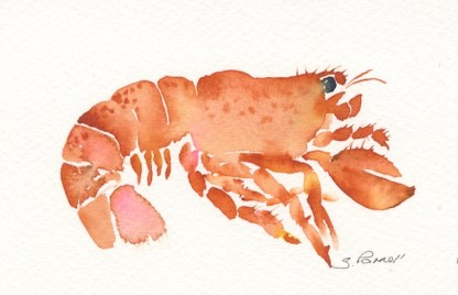 Watercolour painting. SPA018 Lobster. Artist: Seonaid Parnell