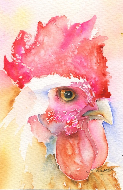Watercolour painting. SPA020 The Boss. Artist: Seonaid Parnell