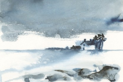 Watercolour painting. RWB0219 - Snow in the Sky. Artist: Vandy Massey