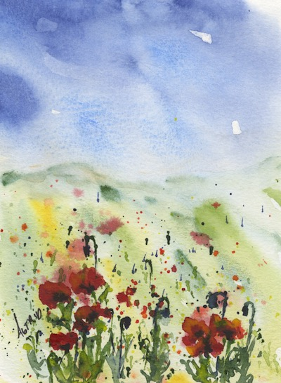Watercolour painting. AKB006 - Splashes of Poppy.