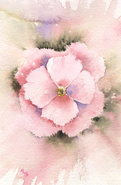 Watercolour painting. POB020 - In the Pink Artist: Polly Birchall