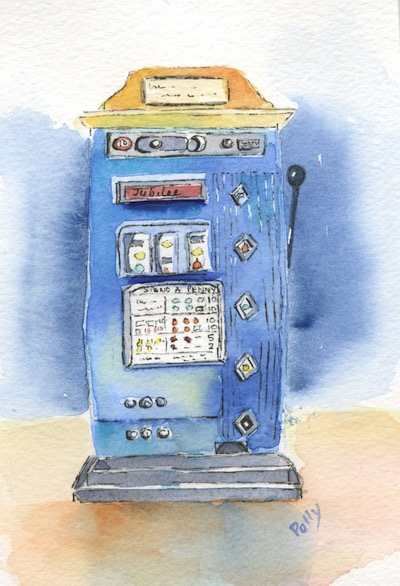 Watercolour painting. POB021 One Armed Bandit. Artist: Polly Birchall