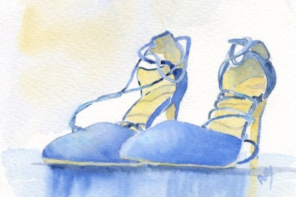 Watercolour painting. POB027 Blue Suede Shoes. Artist: Polly Birchall