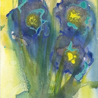 Watercolour painting. RWB0230 Neon Irises. Artist: Vandy Massey