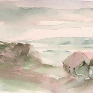 Watercolour painting. RWB0236 Two Boulders. Artist: Vandy Massey