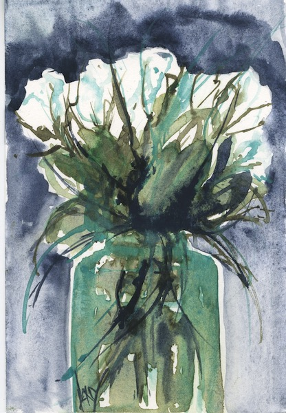 Watercolour painting. RWB0254 White Roses. Artist: Vandy Massey