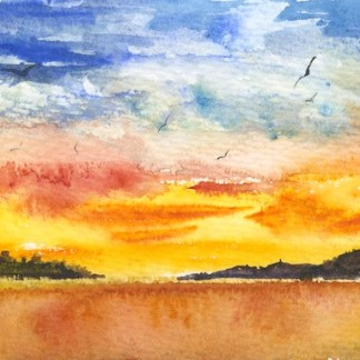 Watercolour painting. MCA014 Sunset Flight. Artist: Margot Cornish