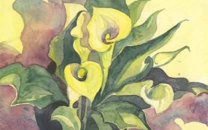 Watercolour painting. HO007 Yellow Lily. Artist: Helen Otter