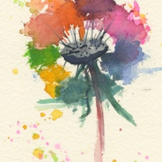 Watercolour painting. MBA002 Technicolour Dandelion. Artist: Melanie Bettridge
