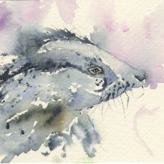 Watercolour painting. MBA011 Mr Badger. Artist: Melanie Bettridge