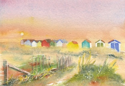 Watercolour painting. MCO003 Southwold Beach Huts. Artist: Mel Collins