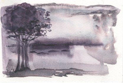 Watercolour painting. RWB0332 Layered Landscape 1. Artist: Vandy Massey
