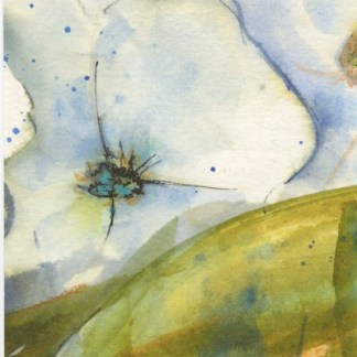 Watercolour painting. RWB0340 Blossom Blues. Artist: Vandy Massey