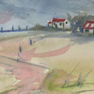 Watercolour painting. RWB0342 Good Neighbours. Artist: Vandy Massey